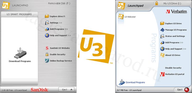 Логотип и меню Launchpad устройства U3 Smart Drive