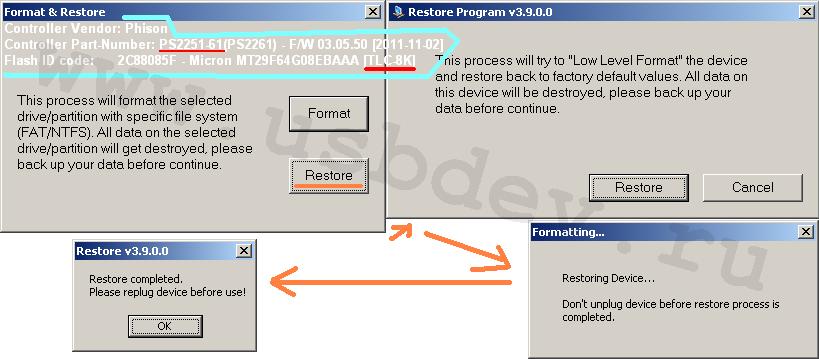 Картинки низк. форматирования USB2.0-флэшки на Micron TLC памяти в Phison Restore Program v3.7.0.0